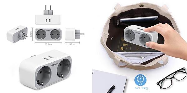 enchufe de corriente con varias tomas y clavijas USB Tessan barato