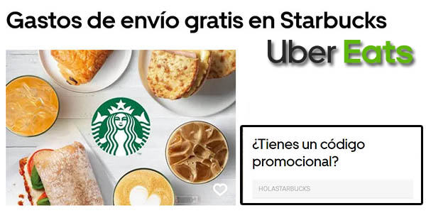 envío gratis en Starbucks con cupón descuento en Uber Eats