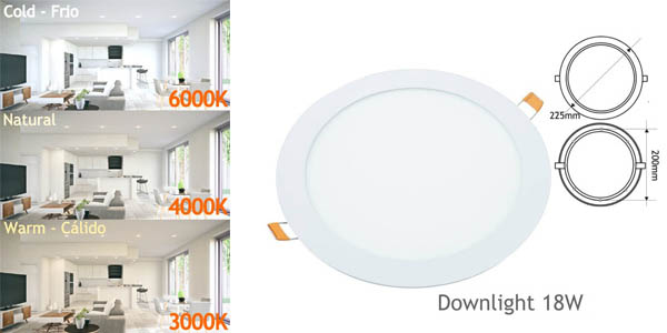 Pack 2x Focos Downlight LED Jandei de 18W baratos en Amazon
