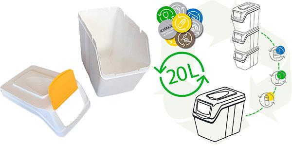 Juego Prosperplast de 3 cubos de reciclaje de 20 litros barato