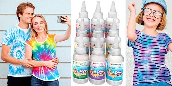 Kit de tintes Tie Dye de 9 colores para teñir ropa y accesorios barato