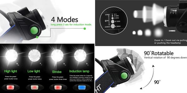 Linterna Frontal LED Backture oferta en Amazon