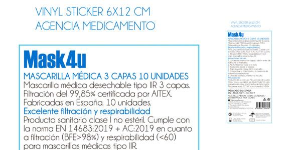 Pack x10 Mascarillas quirúrgicas MASK4U oferta en supermercado Día