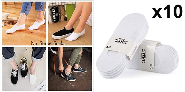 Pack x10 pares de calcetines invisibles tobilleros Falary unisex baratos en Amazon