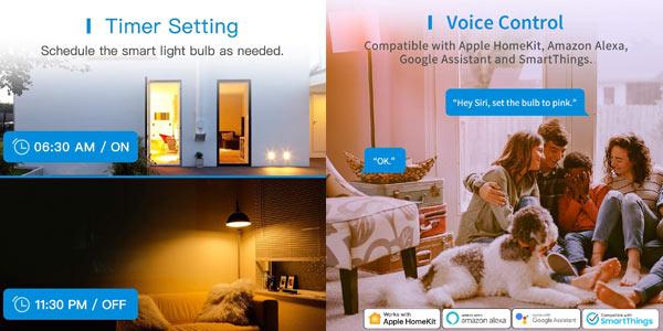 Pack x2 Bombillas LED Wifi Meross chollo en Amazon