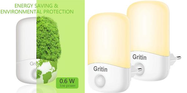 Pack x2 Gritin Luz Nocturna Infantil LED con sensor barato en Amazon