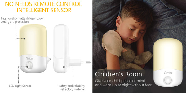 Pack x2 Gritin Luz Nocturna Infantil LED con sensor chollo en Amazon