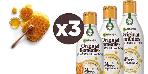 Pack x3 Garnier Original Remedies La Mascarilla - Leche Miel reparadora de 250 ml/ud barato en Amazon