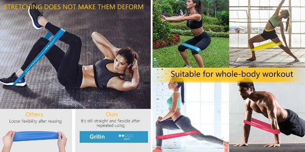 Pack x5 Gritin bandas elásticas de fitness chollo en Amazon