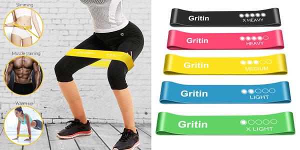 Pack x5 Gritin bandas elásticas de fitness baratas en Amazon