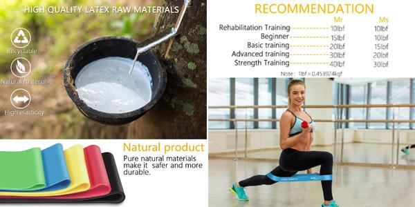 Pack x5 Gritin bandas elásticas de fitness oferta en Amazon