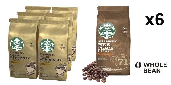 Pack x6 bolsas Starbucks Café de grano entero de 200g de varios tuestes barato en Amazon