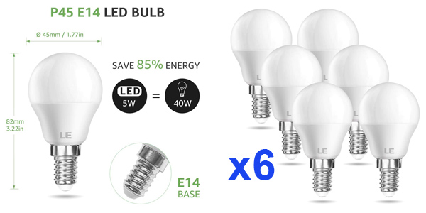 Pack x6 LE Bombillas LED E14 de 5W 470 lúmenes baratas en Amazon