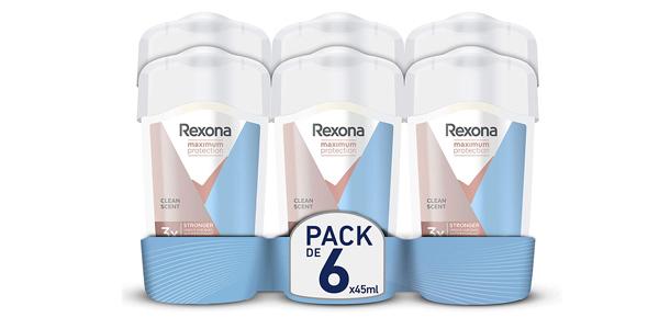 Pack x6 Rexona Maximum Protection Crema Antitranspirante Clean Scent de 45 ml/ud barato en Amazon