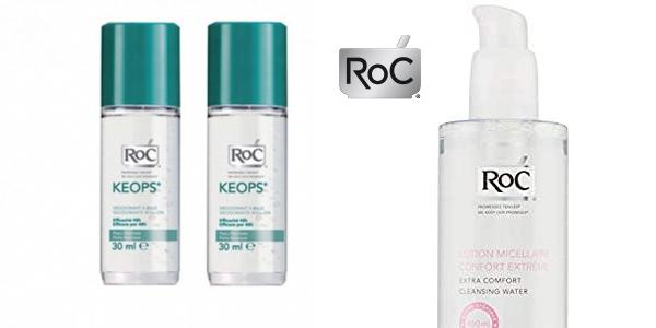 Pack Ahorro Roc Desodorante Keops Roll-On Pieles Normales Duplo (x2) + Agua Micelar 400 ml chollo en Amazon
