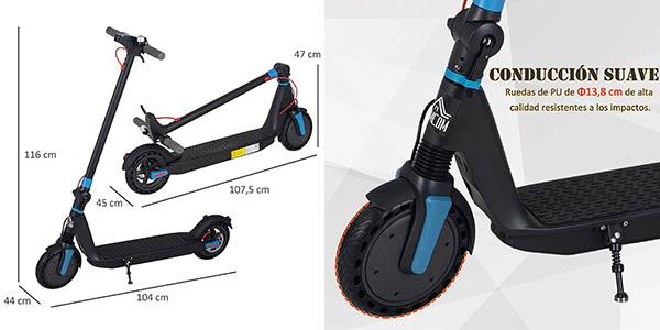 patinete eléctrico plegable Homcom con faro oferta