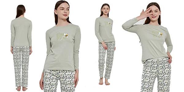 Pijama de algodón para mujer PimpamTex barato en Amazon