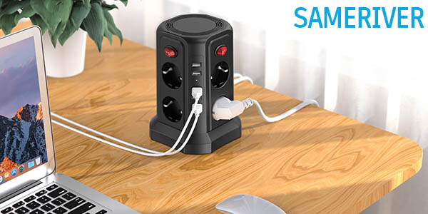 Regleta vertical Sameriver de 8 enchufes y 5 USB