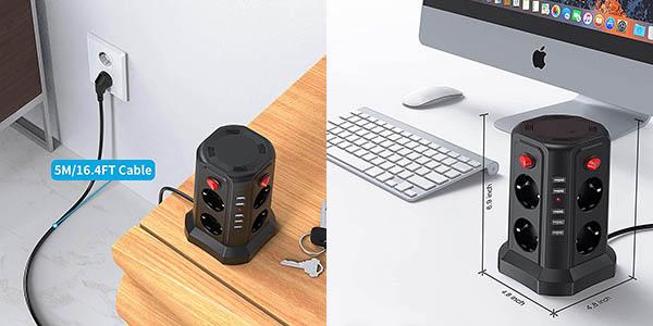 Regleta vertical Sameriver de 8 enchufes y 5 USB barata