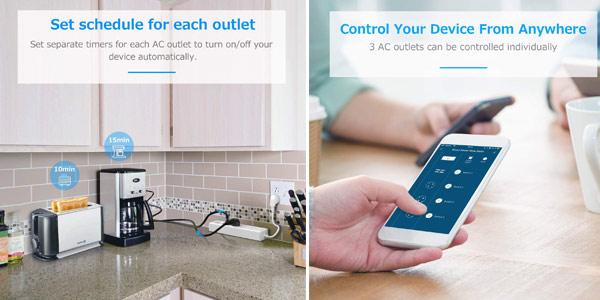 Enchufe regleta inteligente WiFi Maxcio con 3 Tomas y 4 USB controlable por Alexa y Google chollo en Amazon