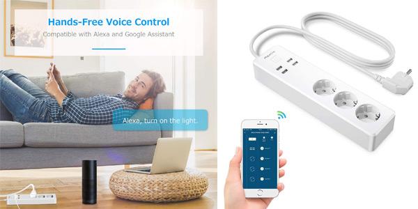 Enchufe regleta inteligente WiFi Maxcio con 3 Tomas y 4 USB controlable por Alexa y Google barato en Amazon