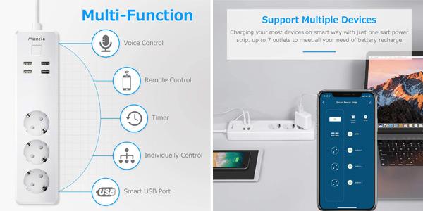 Enchufe regleta inteligente WiFi Maxcio con 3 Tomas y 4 USB controlable por Alexa y Google oferta en Amazon
