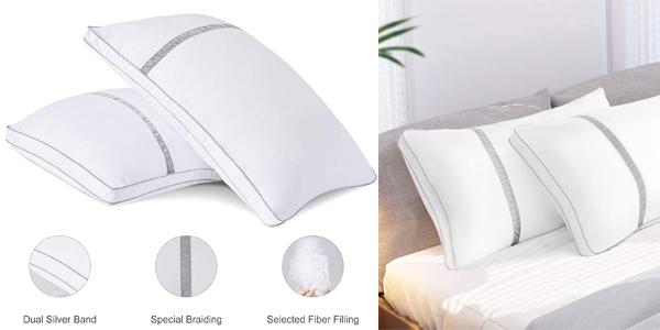 Pack x2 Almohadas Fibra BedStory de 42 x 70 cm con relleno 3D baratas en Amazon
