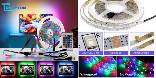 Tira LED RGB Tranyton de 5V con conexión USB chollo en AliExpress