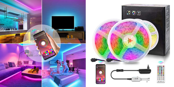 Tiras LED RGB Coolapa Bluetooth, IP65, mando a distancia baratas en Amazon