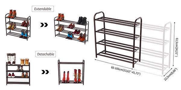 zapatero de barras de acero extensible de gran capacidad a precio de chollo