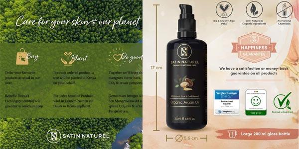 Aceite de Argán Orgánico Satin Naturel Certificado Vegano de 100ml chollo en Amazon