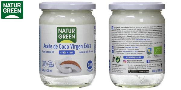 Aceite de coco Virgen Bio NaturGreen de primera presión en frío de 400 gr barato en Amazon