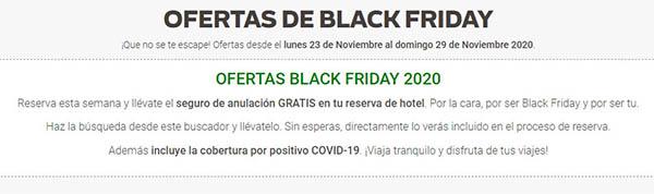 Black Friday 2020 en Destinia cancelación gratuita