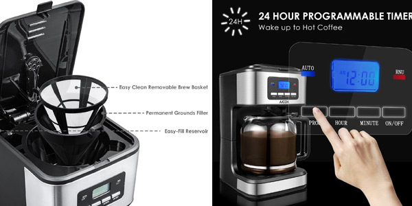 Cafetera de goteo Aicok programable con 900 W y 1,8 L chollo en Amazon