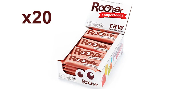 Pack x20 barritas energéticas veganas Roobar Mora blanca y vainilla 100% ecológica barato en Amazon