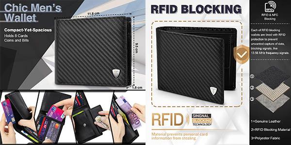 Cartera de cuero Teehon con protección RFID barata