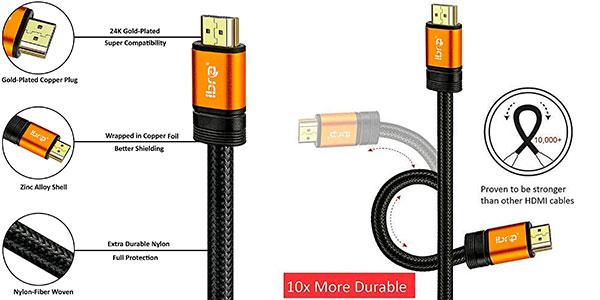 Chollo Cable HDMI 2.1 Ibra 4K 120 Hz y 8K 60 Hz de 2 metros