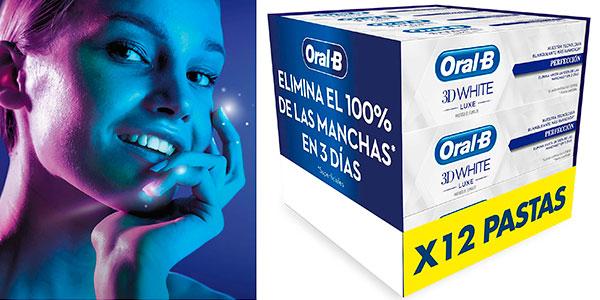 Chollo Pack de 12 dentífricos blanqueadores Oral-B 3D White Luxe Perfección de 75 ml