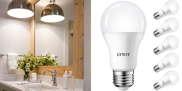 Chollo Pack de 6 bombillas LED LVWIT A60 E27 de 14 W