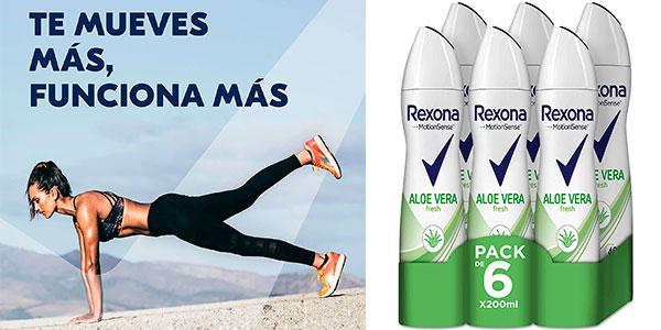 Chollo Pack de 6 desodorante Rexona Aloe Vera de 200 ml para mujer