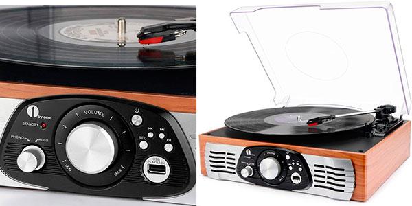 Chollo Tocadiscos estéreo 1 By One de 3 velocidades con MP3