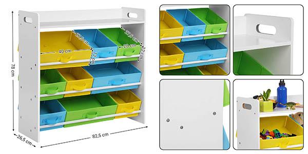 estantería infantil con cajones de tela de colores Songmics barata