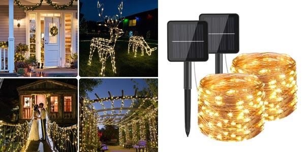 Guirnalda Solar con 120 Luces LED Hepside para exterior barata en Amazon