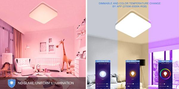 Lámpara LED inteligente Oeegoo de techo con conexión WiFi oferta en Amazon