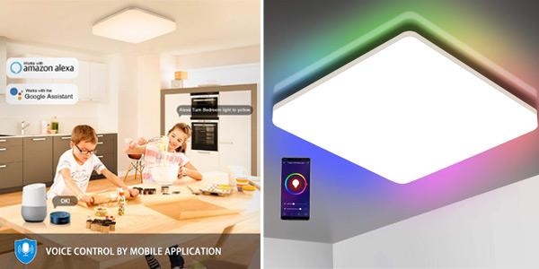 Lámpara LED inteligente Oeegoo de techo con conexión WiFi barata en Amazon
