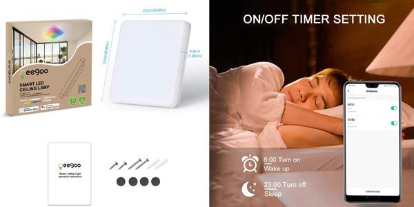 Lámpara LED inteligente Oeegoo de techo con conexión WiFi chollo en Amazon