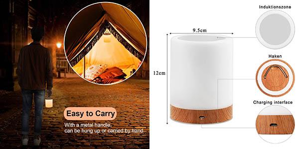 lámpara para mesita de noche Amouhom táctic con luz de colores a precio de chollo