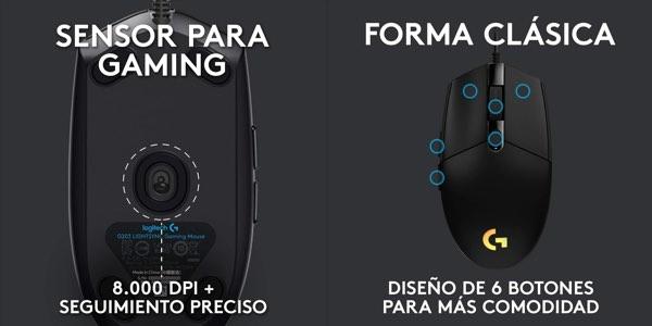 Ratón gaming Logitech G203 ratón gaming barato