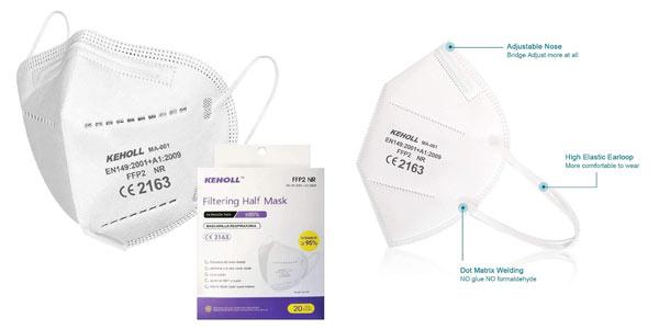 Mascarillas FFP2 Keholl certificación CE baratas en Amazon
