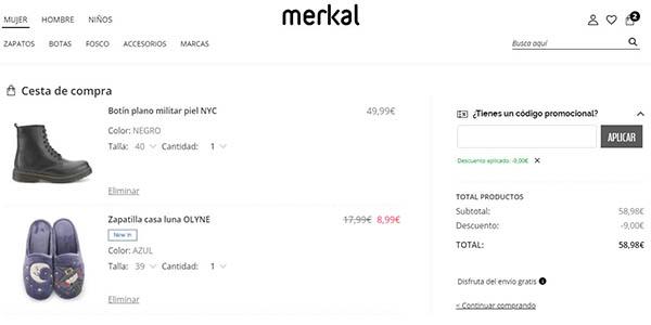 Merkal Calzados código descuento BLACK